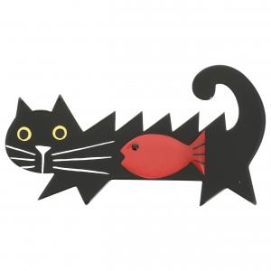 Chat Poisson noir et rouge scaled