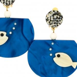 Boucles doreilles Aquarium blanc sur bleu1