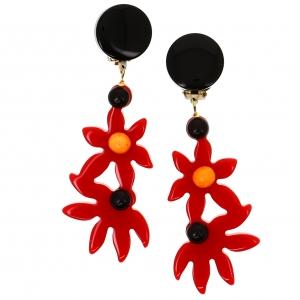Boucles doreilles fleurs rouges