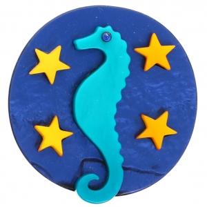 Hippocampe Lune turquoise et bleu