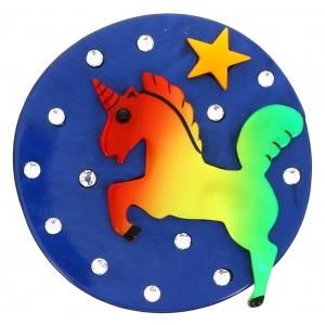 Licorne Lune bleu et arc en ciel