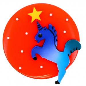 Licorne Lune rouge et bleu