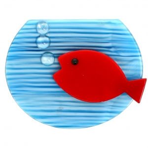 aquarium bleu rayures et rouge