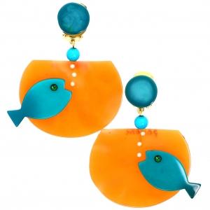 Boucles doreilles Aquarium turquopise sur orange