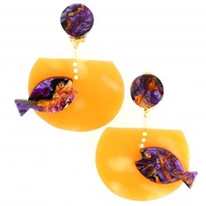 Boucles doreilles Aquarium violet nacre sur orange