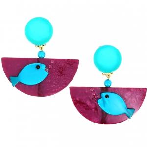 Boucles doreilles Poisson Ocean turquoise sur violet