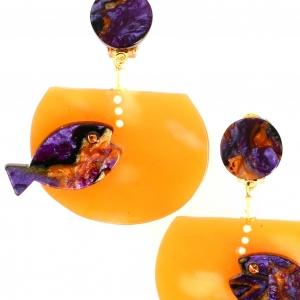 Boucles doreilles aquarium violet nacre sur orange2