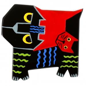 Chat Picasso noir et rouge
