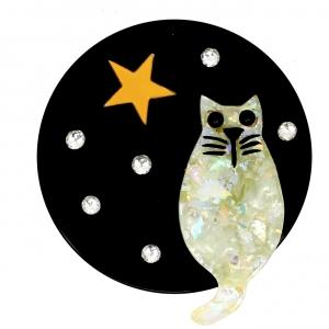 Chat Pleine Lune blanc brillant sur noir