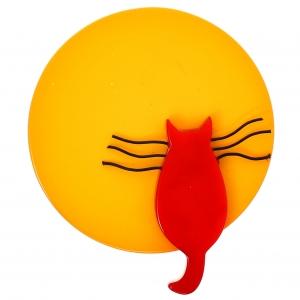 Chat Pleine Lune rouge et jaune