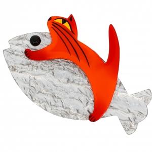 Chat Sinbad orange et gris nacre