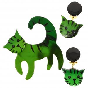 Chat tigron vert ensemble