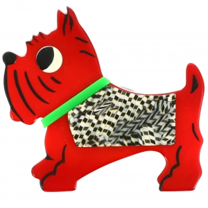 Chien jano rouge damiers