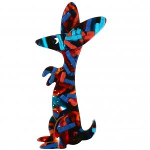 Lapin Bunny bleu roux motifs