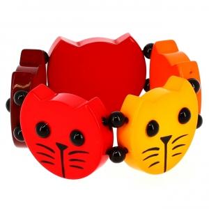 Têtes Rondes Chats camaïeux rouge orange