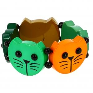 Têtes Rondes Chats camaïeux vert 2