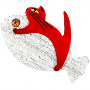 Chat Sinbad argent et rouge