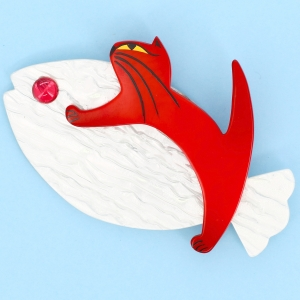 Chat Sinbad blanc irise et rouge