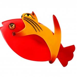 Chat Sinbad jaune et rouge