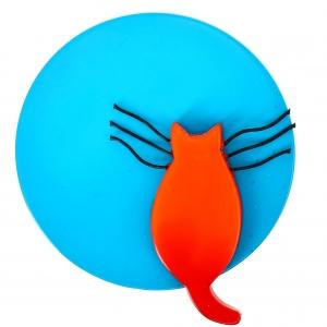Chat pleine lune turquoise et orange