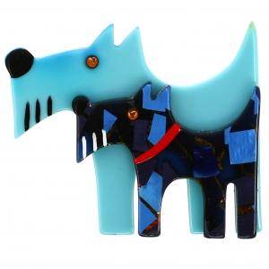 Chien Double chien ciel et bleu motifs