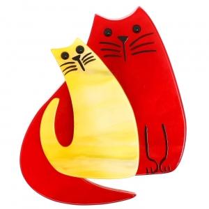 Double Chat rouge et jaune vif