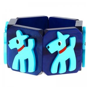 chien fox turquoise bleu