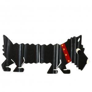 chien titane noir rayures argent