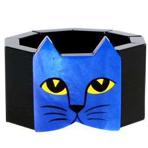 tete chat bleu noir