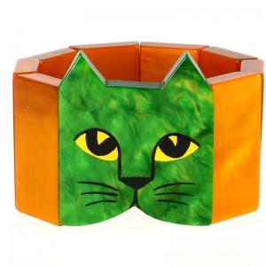 tete chat vert ocre