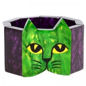 tete chat vert violet