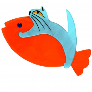 Chat Sinbad turquoise et orange
