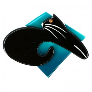 chat Coussin turquoise