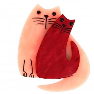 chat double chat rose et carmin