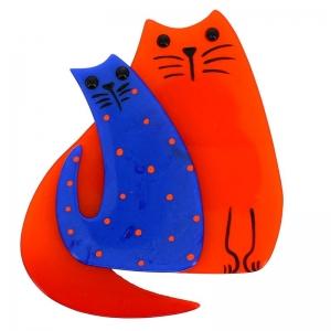 double chat orange et bleu