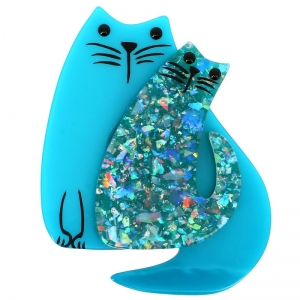 double chat turquoise et turquoise brillant