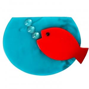 Aquarium rouge et turquoise