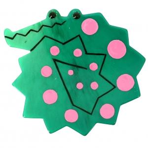 Crocodile enroule vert rose