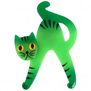 chat joyeux vert