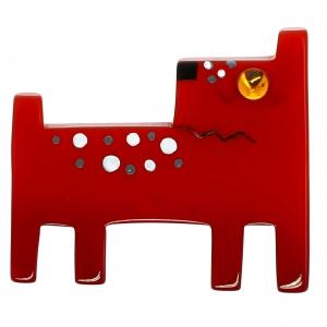 chien geometrique rouge brique