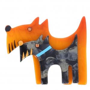 Double chien ocre et gris motifs