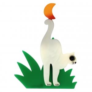 chat herbe blanc