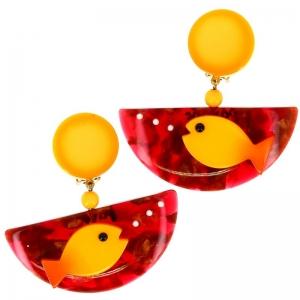 BO poisson ocean jaune et rouge motifs