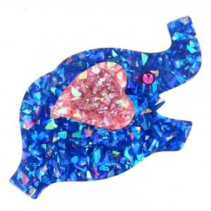elephant coeur bleu brillant