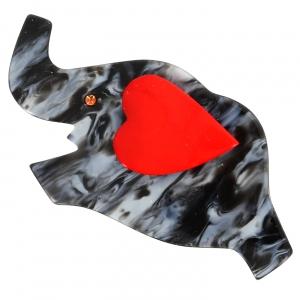 elephant coeur gris chine et rouge