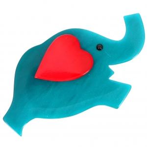 elephant coeur turquoise et rouge
