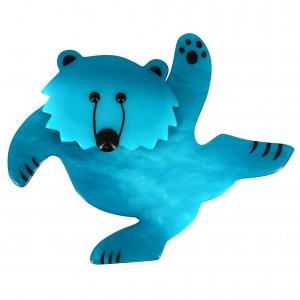 ours dansant turquoise pommele