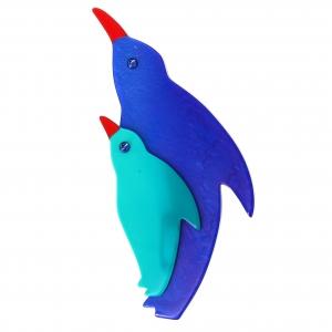 pingouin bleu et turquoise
