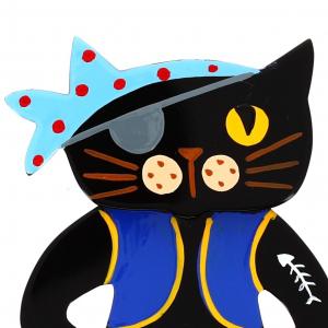 Pirate Cat Brooch close-up